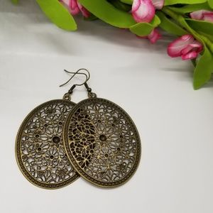 Large Antique Bronze Medallion Earrings